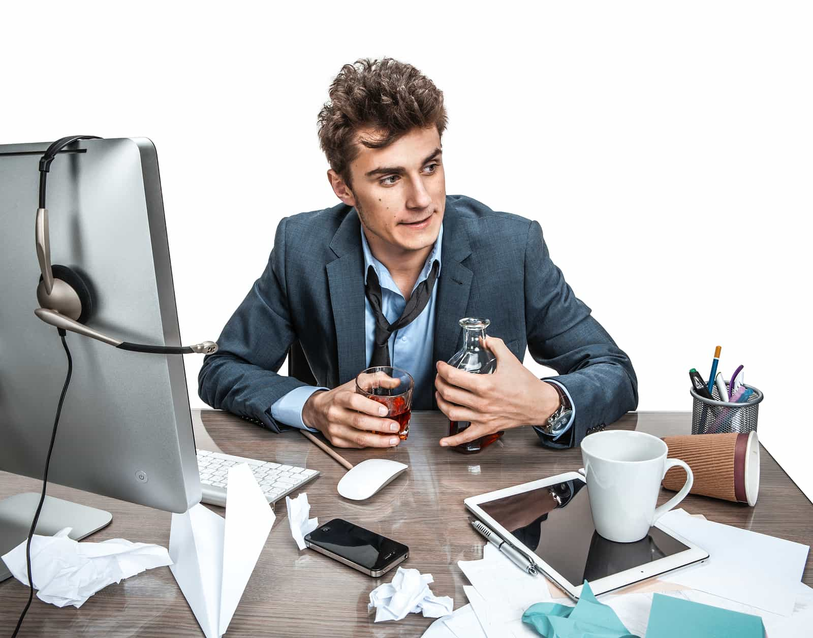 Young Alcoholic Business Man Drinking Whiskey Sitting Drunk At O