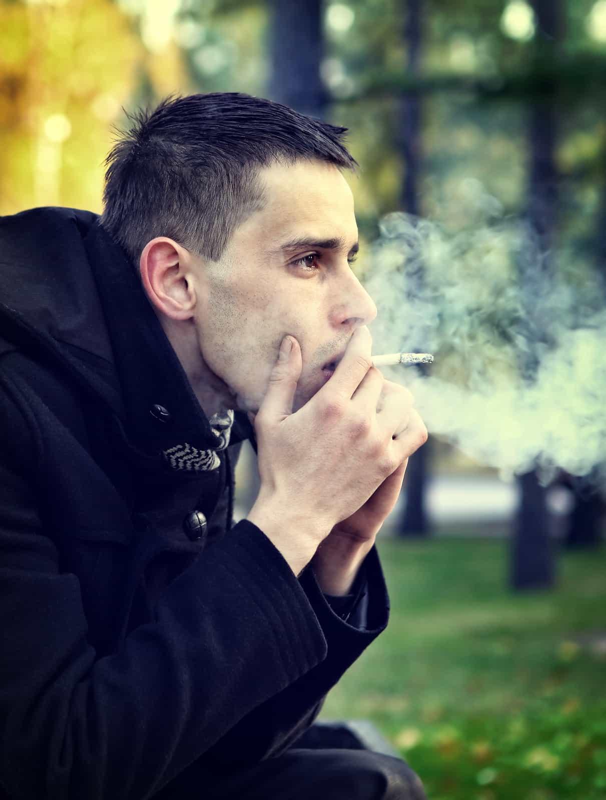 Sad Man With Cigarette
