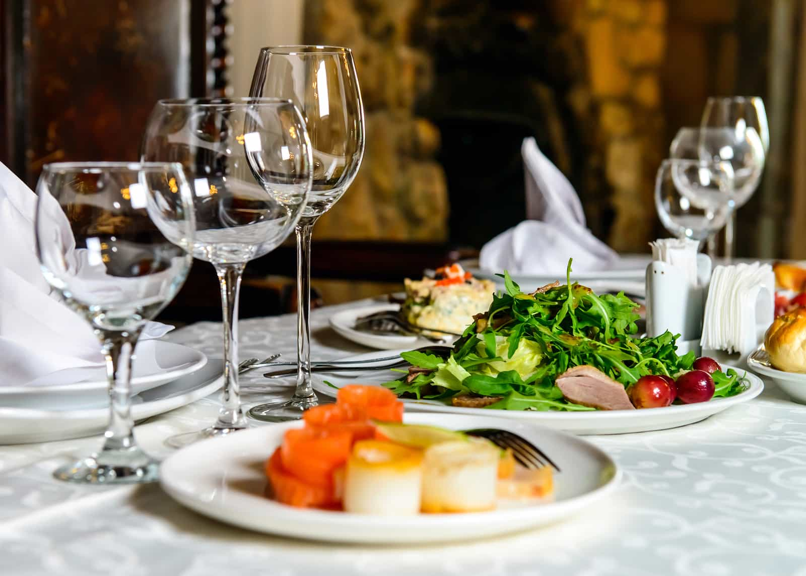 Served banquet restaurant table