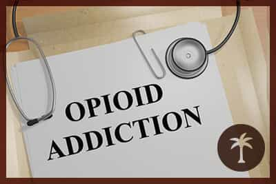 """3D illustration of """"OPIOID ADDICTION"""" title on medical document"""
