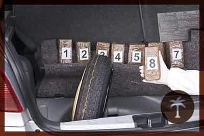 Drug smuggling. Drug bundles smuggled in a car trunk.