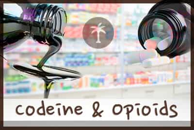codeine and opioids with a pharmacy background image